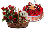 Red Flowers Basket and Red Berry Mousse Cake (PC)- 2Lbs