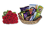 One Dozen Red Roses and Chocolates Gift Basket