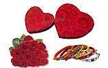 One Dozen Red Roses and Cute Heart Shape Box and Bangles