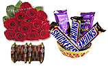 Metallic Bangles and One Dozen Red Roses and Chocolates Gift Basket