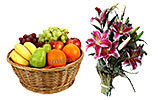 Fruit Basket (5KG) and Pink Lily Bunch