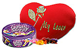 Heart Shaped Pillow and Quality Street Tin Box