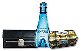 COOL WATER for women (100ml) and Ferrero Rocher (16 pcs) and Black Ladies Wallet