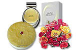Pineapple Cake (PC) 2Lbs and Two Dozen Mix Roses and CK Beauty for Women (100ml)