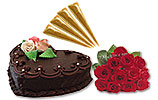 Heart Shaped Cake (Avari) 2Lbs and One Dozen Red Roses and Four Cone Mehdi