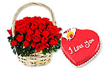 Red Roses Basket and Heart Shaped Cake (PC) 4Lbs