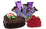 Chocolates Gift Basket and Heart Shaped Cake (Avari) 2Lbs and One Dozen Red Roses