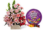 Quality Street Tin box and Pink Flowers Basket
