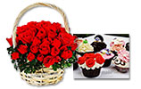 Red Roses Basket and Mix Wave Cup Cakes (6pcs)
