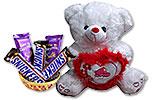 Chocolates Gift Basket 28 and White Teddy Bear