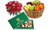 Two Dozen Red Roses and Arabian Delights (1.5 KG) in Executive Box and Fruit Basket (5KG)