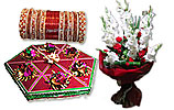 White Glads Bouquet and Mix Mithai (5KG) and Metallic Bangles