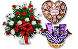 Red/White Arrangement and Fai Don and Chocolates Gift Basket