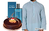 Chocolate Fudge Cake and Men Shalwar Kameez and Cool Water for Men