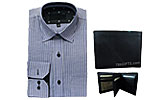 Blue Cotton Shirt and Black Men Leather Wallet