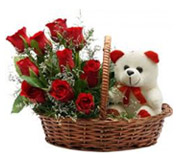 Red Flowers Basket with Teddy