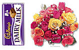 Cadbury Dairy Milk And Two Dozen Mix Roses
