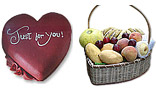 Heart Shaped Cake (4Lbs) And Fruit Basket (7-9 KG)