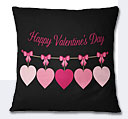 Valentine Day Hearts Cushion - Black