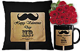 One Dozen Red Roses and Valentine Day Cushion and Valentines Day Mug