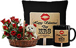 Red Flowers Basket with Teddy and Valentine Day Cushion and Valentines Day Mug
