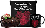 Heart Shaped Cake (Avari)- 2Lbs and Valentine Day Cushion and Valentines Day Mug