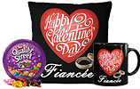 Quality Street Tin box and Valentine Day Fiancee Cushion and Valentines Day Mug