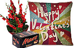 Red Glads Bouquet and Mars and Valentine Day Cushion