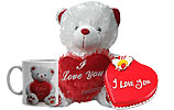 Teddy with heart- Large and Heart Shaped Cake (PC)- 4Lbs and I Love You Mug