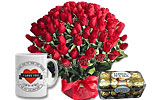 4 Dozen Red Roses and Ferrero Rocher- (16 pc.) and I Love You Mug