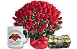 4 Dozen Red Roses and Ferrero Rocher- (16 pc.) and I Love You Mug