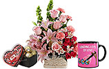 Pink Flowers Basket and Heart shaped gift box and Valentines Day Mug