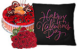 One Dozen Red Roses and Blue Berry Cake (PC)- 2Lbs and Valentine Day Cushion