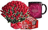4 Dozen Red Roses and Nestle- Kit Kat and Valentines Day Mug