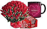 4 Dozen Red Roses and Nestle- Kit Kat and Valentines Day Mug