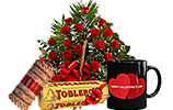 Red Roses Basket 4 and Toblerone and Metallic Bangles and Valentines Day Mug