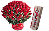 Red Flowers Basket and Red Berry Mousse Cake (PC)- 2Lbs4 Dozen Red Roses and Toblerone