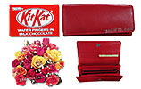 Two Dozen Mix Roses and Ladies Leather Wallet and Kit Kat