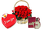 Heart Shaped Cake (PC)- 4Lbs and Red Roses Basket and HUGO Perfume