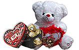 White Teddy Bear and Heart shaped gift Box
