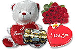 Ferrero Rocher (16 pcs) and One Dozen Roses and Heart Shaped Cake (4Lbs) and Teddy with Heart