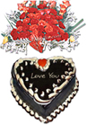 Heart Shaped Cake (4Lbs) And For Lover Basket