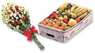 Fruit Basket And Bouquet Elegance