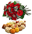 Two Dozen Roses And Assorted Mithai (4KG)