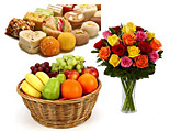 24 Red Roses in a Vase And Fruit Basket (5KG) And Assorted Mithai (3KG)