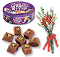 Quality Street Tin box And Habshi Halwa (2 KG) And Bunch of flowers